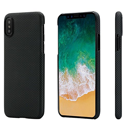 Minimalist iPhone X Case,PITAKA Magcase Aramid Fiber[Real Body Armor Material]Phone Case,Ultra Thin(0.03in)Super Light(0.49oz)Strongest Durable Snugly Fit Snap-on Case for iPhone X-Black/Grey(Plain) -