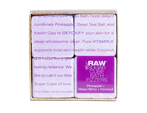 Raw Sugar Cube Bath Fizzers Pineapple Maqui Berry Coconut 16oz, pack of (Sugar Bath Cubes)
