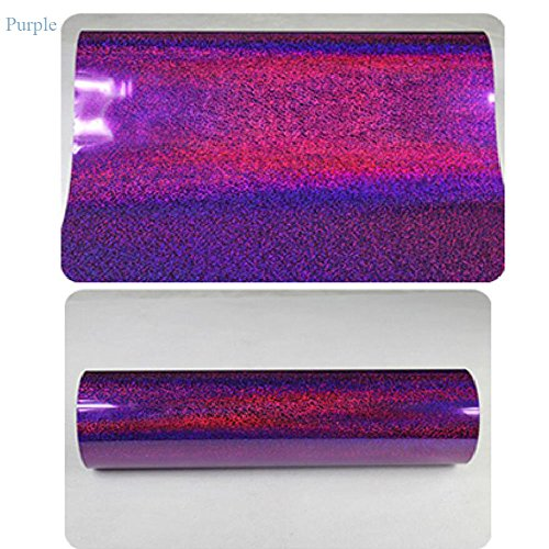Holographic Heat Transfer Vinyl Choose From 6 COLORS Laser Vinyl 20''x39'' (H-PURPLE)