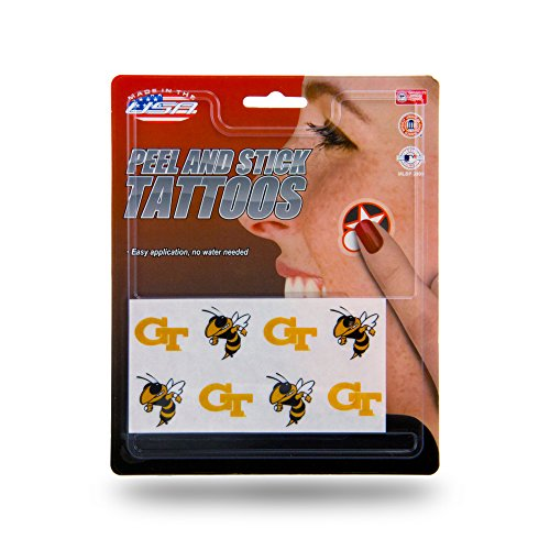 Rico Industries NCAA Georgia Tech Face Tattoos, 8-Piece Set -