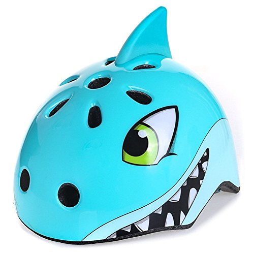 shuangjishan Awesome Boys/Girls Shark Safety Helmet Children Multi-Sport Helmet for Skateboard Cycling Skate Scooter Roller(48-52cm) -