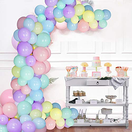 Balloon Garland Kit Pastel Balloons Arch 110 Pcs Assorted Macaron Candy Party Balloons for Wedding Party Baby Shower Party Supplies (Macaron Party Supplies)