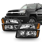 2003 avalanche headlight assembly - For Black 2002 2003 2004 2005 2006 Chevy Avalanche Body Cladding Model Headlights+Bumper Lights Set