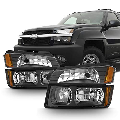 For Black 2002 2003 2004 2005 2006 Chevy Avalanche Body Cladding Model Headlights+Bumper Lights -