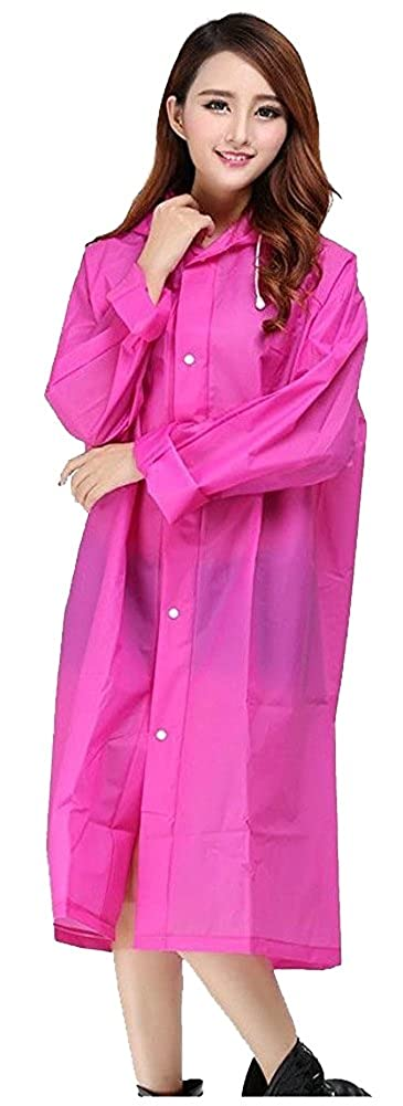 Hot Pink Mengsha's Transparent Fashionable EVA Vinyl Women's Waterproof Raincoat Runway Style with Hood