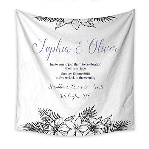 Apartment Decor Tapestry Hand Drawn Wedding Invitation with Bouquets of Tropical Flowers and Palm Branches Summer time Perfect for Invitations Greeting ca Living Room Bedroom Dorm Deco 70W x 70L Inch