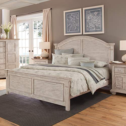 Greyson Living Carlyle Crackled White Arched Panel Beds by Queen - Queen Arched Panel Bed