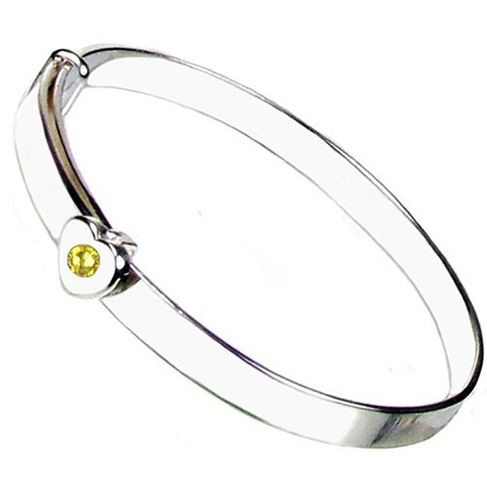 Christening Bangle - Sterling Silver - Citrine Crystal November Birthstone - Free Engraving – Gift Box with Personalised Ribbon - 12 Month Guarantee – Suitable for Girls and Boys Heart to Heart ER-SH-BS-Nov