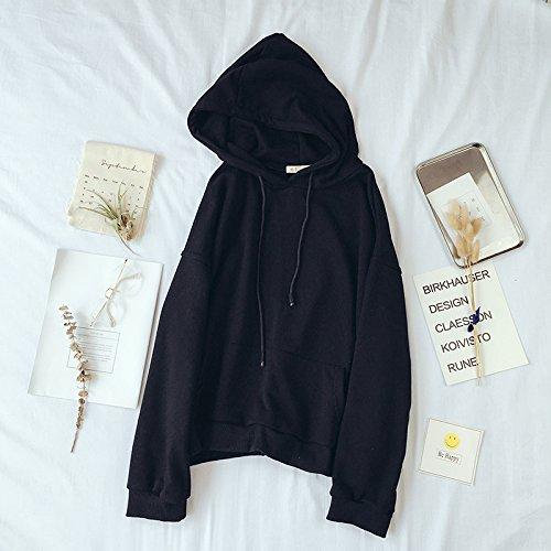 Xuanku Loose Solid Hooded Sweater Pocket Long Sleeved Jacket Sleeve Autumn Jacket Black