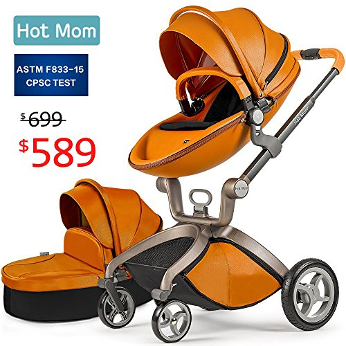 Baby Stroller 2018, Hot Mom Travel System Baby Carriage with Bassinet Combo,Brown,Baby Bid Gift