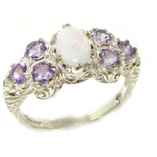 925 Sterling Silver Natural Opal and Amethyst Womens Cluster Ring - Sizes 4 to 12 Available