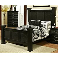 Sandberg Furniture Granada Estate Headboard and Footboard with Rails, Queen, Black