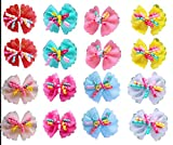 Yagopet 40pcs/lot New Pet Dog Hair Bows Curves Decoration Pet Grooming Products Mix Colors Pet Hair Bows Topknot Rubber Bands in Pairs (backside with clips)