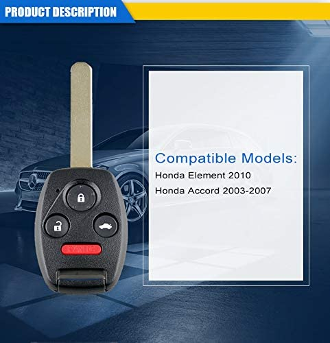 3+1 Buttons 313.8Mhz OUCG8D-380H-A ID46//7936 Chip Keyless Fob Entry Car Remote Key For Honda Accord 2003-2007 Auto Parts