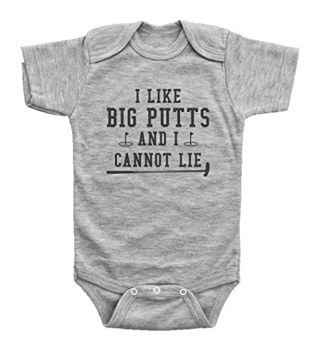 Funny Golf Onesies for Babies / I Like Big Putts and I Cannot Lie / Baffle (24mo, Grey Short Sleeve)