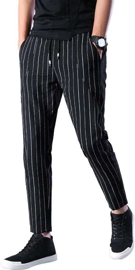 Pantalones Slim Fit Para Hombre Rayas Verticales Elasticos Puntos Pantalones Casuales Pantalones Pantalones Para Hombres Negro 34 Amazon Es Deportes Y Aire Libre