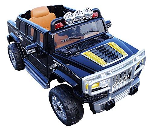 Hummer HJJ255B 12-volt MP3 Electric Battery Powered Ride On Kids Boys Girls Toy Car RC Parental Remote LED Lights Music Real Paint -Black - Hummer H3 Ride On