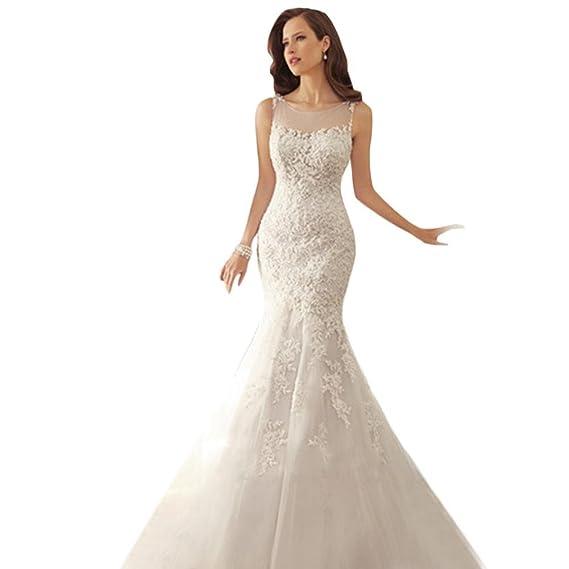 Senza Fretta Long Sleeve Mermaid Bride Wedding Dress Lace V-Neck ...