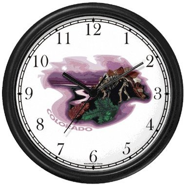 - Colorado Icons - Dinosaur Skeleton, Mountains, Rive, Pine Tree Branch and Cone - American Theme Wall Clock by WatchBuddy Timepieces (Black Frame)
