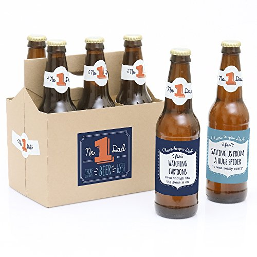 Big Dot of Happiness Cheers to You, Dad - Decorations for Men - 6 Beer Bottle Label Stickers and 1 Carrier]()