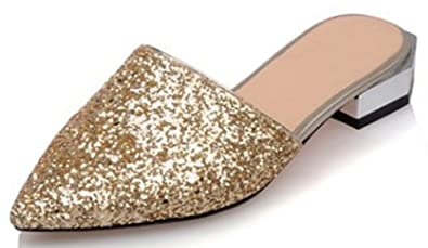 9f794d8d505c4 IDIFU Women s Sexy Sequins Closed Pointed Toe Slip On Sandals Low Block  Heel Summer Slippers Gold