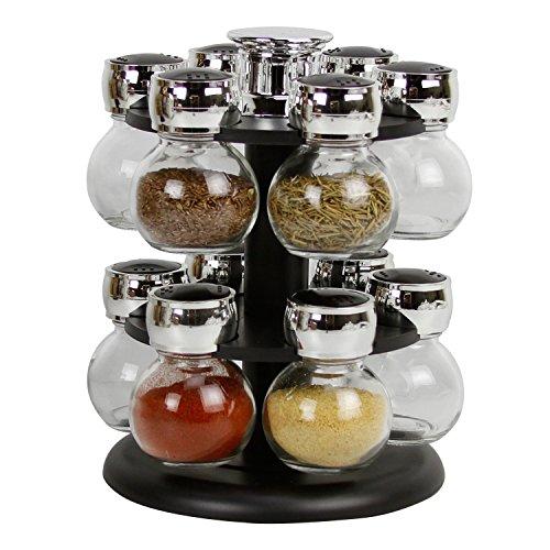 Evelyne Revolving Rotation Spice Rack with Glass Spice Jars (12-jars, Black)