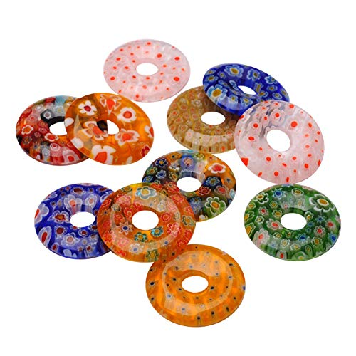 ARRICRAFT 30pcs Donut Millefiori Glass Pendants Round Lampwork Flower Printed Beads for Crafting Jewelry Making