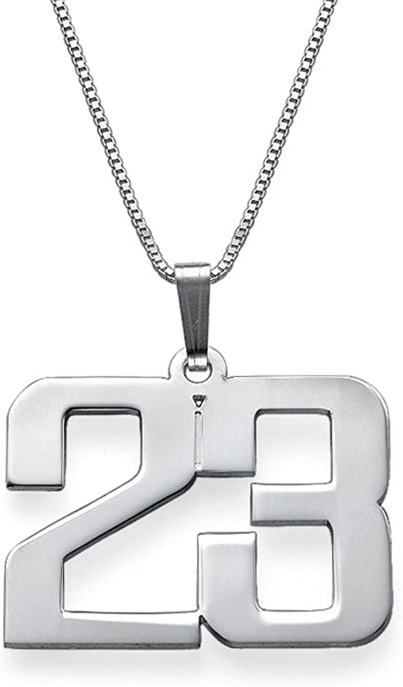925 Sterling Silver Customized Jewelry for Men - Personalized Charm Number Necklace