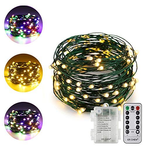 ErChen Dual-Color LED String Lights (Warm White/Multicolor), Green Copper Wire 33FT 100 LEDs Battery Powered 8 Modes Dimmable Decor Fairy Lights with Remote Timer for Indoor Outdoor Garden Patio.