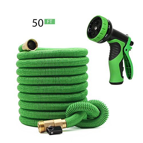 CONPEST 50FT Expandable Garden Hose Green Set With 9 Function Spray Nozzle, Triple Latex Core, 3/4 inch Solid Brass Connectors, Extra Strength Fabric - Flexible Hose For Garden Cleaning by CONPEST