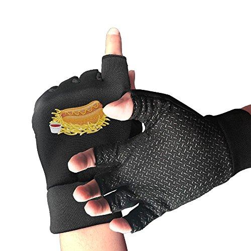 Addressverb Bicycle Half Finger Gloves Hot Dog Ketchup Mens Womens Anti-slip Shockproof Foam Padded Gel Pad Gym Boxing Sports Gloves -