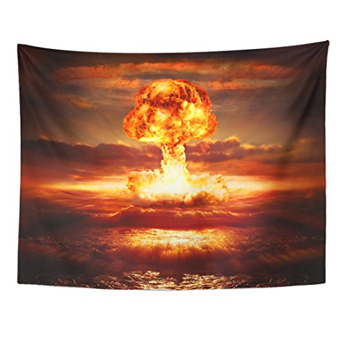 Emvency Tapestry Red Atomic Explosion Nuclear Bomb in Ocean Yellow Mushroom Apocalypse Home Decor Wall Hanging for Living Room Bedroom Dorm 60x80 - Mushroom Yellow Coral