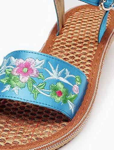 Sandales à Bas Talon AalarDom Mélangées Bleu Femme TSFLH006474 Couleurs Boucle wTt05q71x5