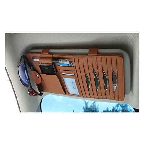 Gunuine Leather Auto Vehicle Sun Visor Organizer with 10 CD/DVD Slots,4 Credit Card Pockets,1 Glasses Clip,1 Pen Holder,1 Money Pocket Cover ()