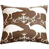 Beauty : The Well Dressed Bed Accent Pillow, 20 by 20-Inch, Brown/Peacock