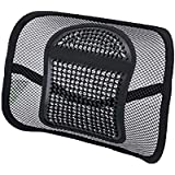 Lumbar Support Mesh, Back Support Mesh Back Cushion Breathable Comfortable Adjustable for All Types Car Seat Office Chair (Mesh Fiber, Standard)