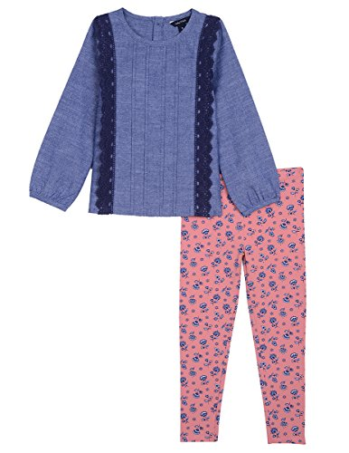 65d54785dc666 Galleon - Nautica Toddler Girls' Two Piece Long Sleeve Legging Sets,  Printed Chambray, 3T