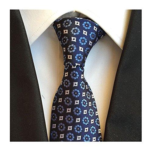 Elfeves Men's Blue White Tie Floral Navy Woven Silk Paisley Party Neckties Gifts (Cream Silk Blazer)