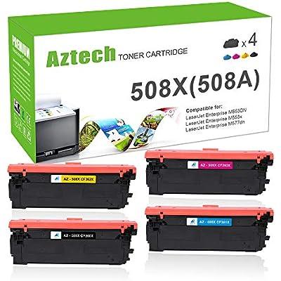Aztech Compatible Toner Cartridge Replacement for 508A 508X HP508X CF360X CF361X CF363X CF362X CF360A Toner Color Laserjet Enterprise M552DN M553DN M553N M553X MFP M557 M577 M553