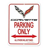 "C7 Corvette Parking Only Sign -Crossed Flags Logo - 9"" x 12"""