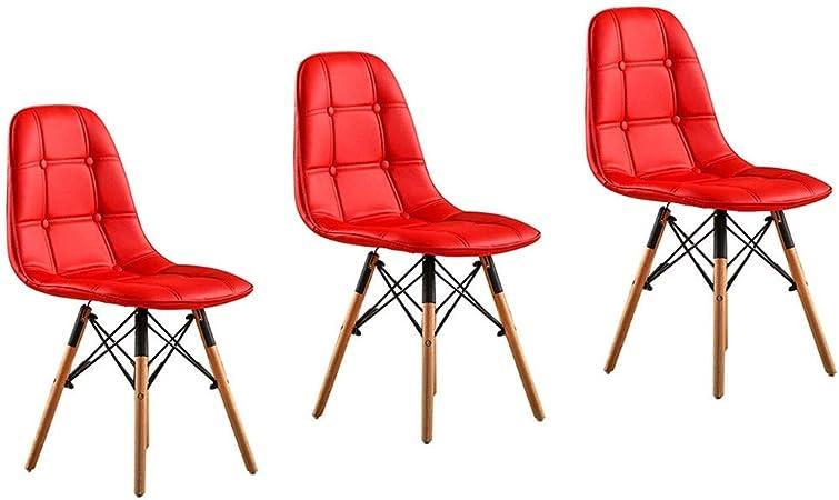 LSRRYD Pack de 3 Eiffel Sillas de Comedor, Silla PU Retro Blanco Comedor Silla Oficina Silla Lounge (Color : Rojo): Amazon.es: Hogar