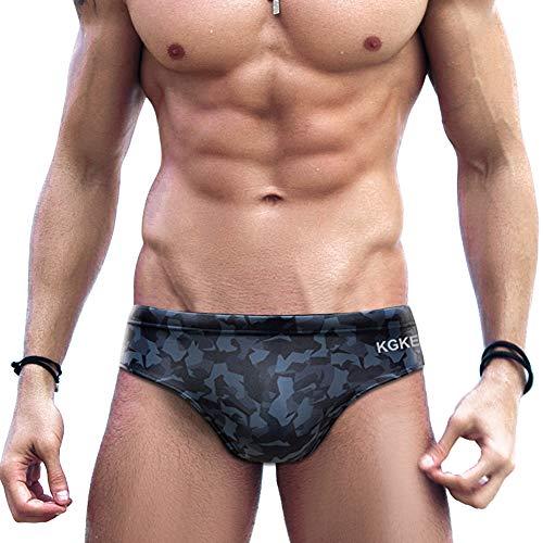 KGKE Mens Sexy Swim Briefs Camo Pattern Bikini Swimsuit for Men (Grey Camo, L)
