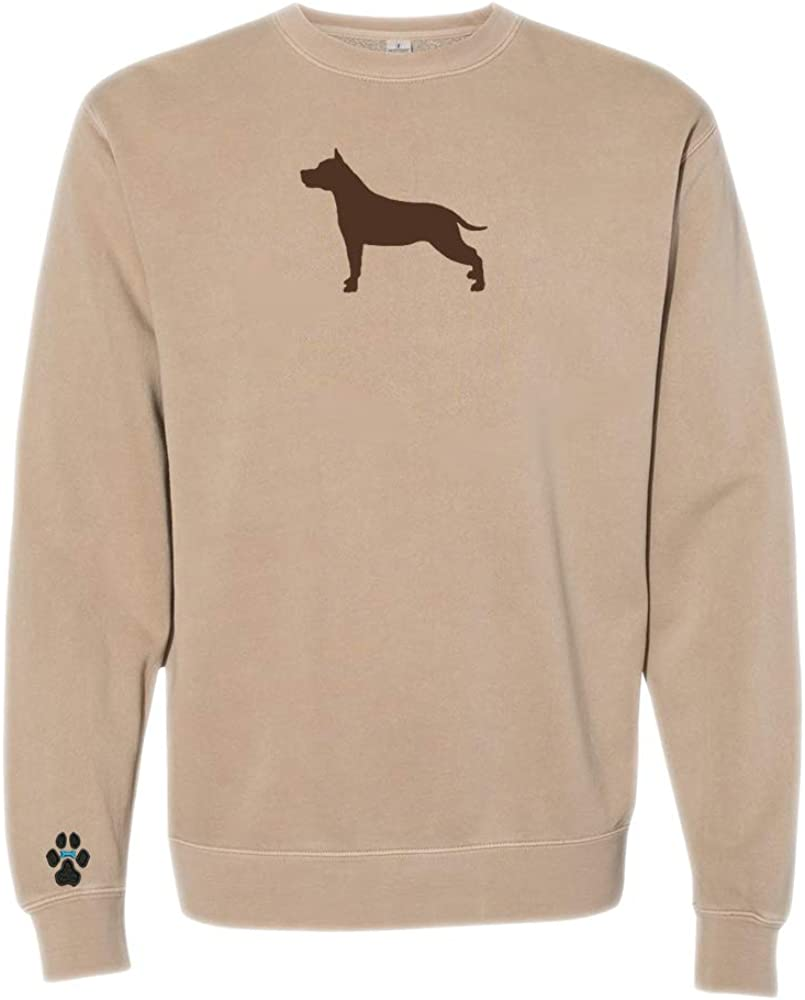 Heavyweight Pigment-Dyed Sweatshirt with American Staffordshire Terrier Silhouette