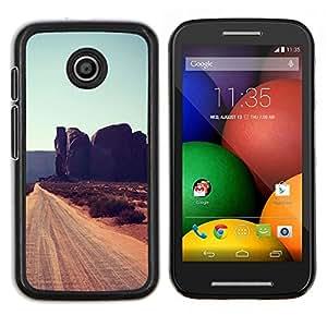 LECELL--Funda protectora / Cubierta / Piel For Motorola Moto E -- Rocas de Cliff Road Sandy Brown --