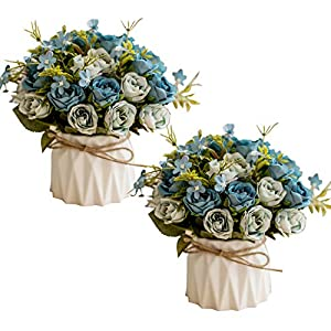 Homcomoda Artificial Flowers 2 PC Fake Rose Mini Potted Plant Silk Rose Floral for Home Garden Party Wedding Decoration (Blue) 9