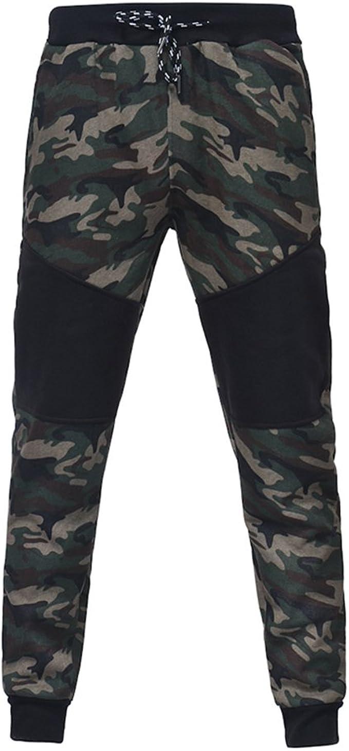 Yying Hombre Pantalones de Camuflaje Moda Patchwork Loose Fit ...