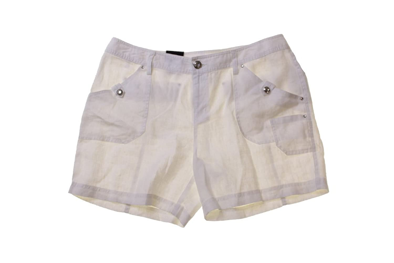 Inc International Concepts White Rhinestone-Button Linen Shorts
