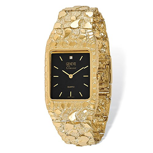 (14K Yellow Gold Mens Squared Black 27x47mm Dial Solid Nugget Watch)