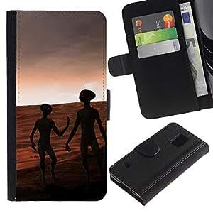 LASTONE PHONE CASE / Lujo Billetera de Cuero Caso del tirón Titular de la tarjeta Flip Carcasa Funda para Samsung Galaxy S5 V SM-G900 / Aliens Mars Red Planet Universe Cosmos Space