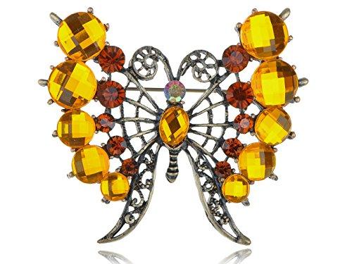 Alilang Topaz Crystal Rhinestone Butterfly Filigree Design Fashion Pin Brooch -